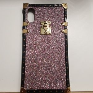 """Case for iphone XR 6.1""""pink glitter-gold-black new"""